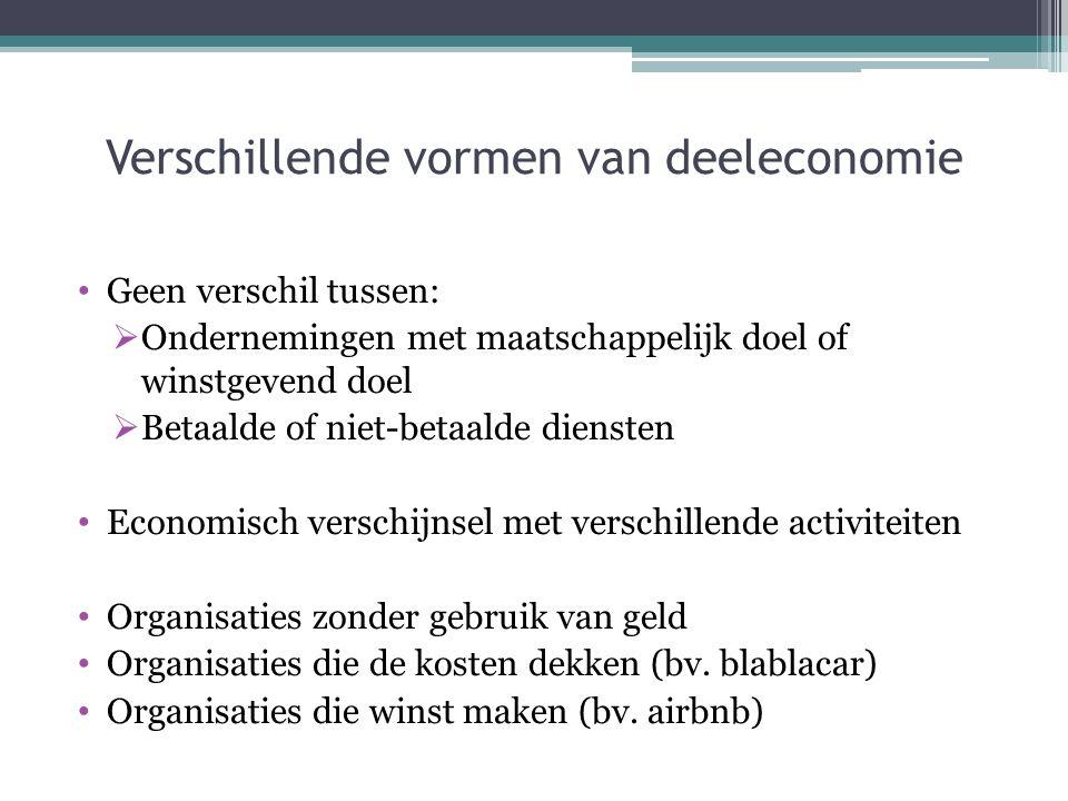 Verschillende vormen van deeleconomie Geen verschil tussen:  Ondernemingen met maatschappelijk doel of winstgevend doel  Betaalde of niet-betaalde d