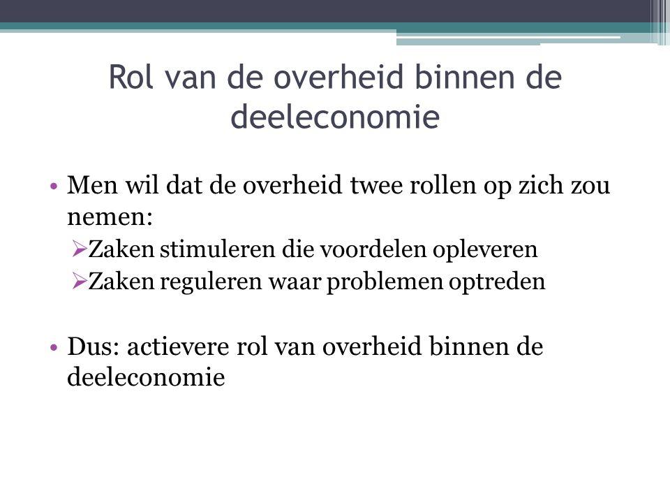 Rol van de overheid binnen de deeleconomie Men wil dat de overheid twee rollen op zich zou nemen:  Zaken stimuleren die voordelen opleveren  Zaken r