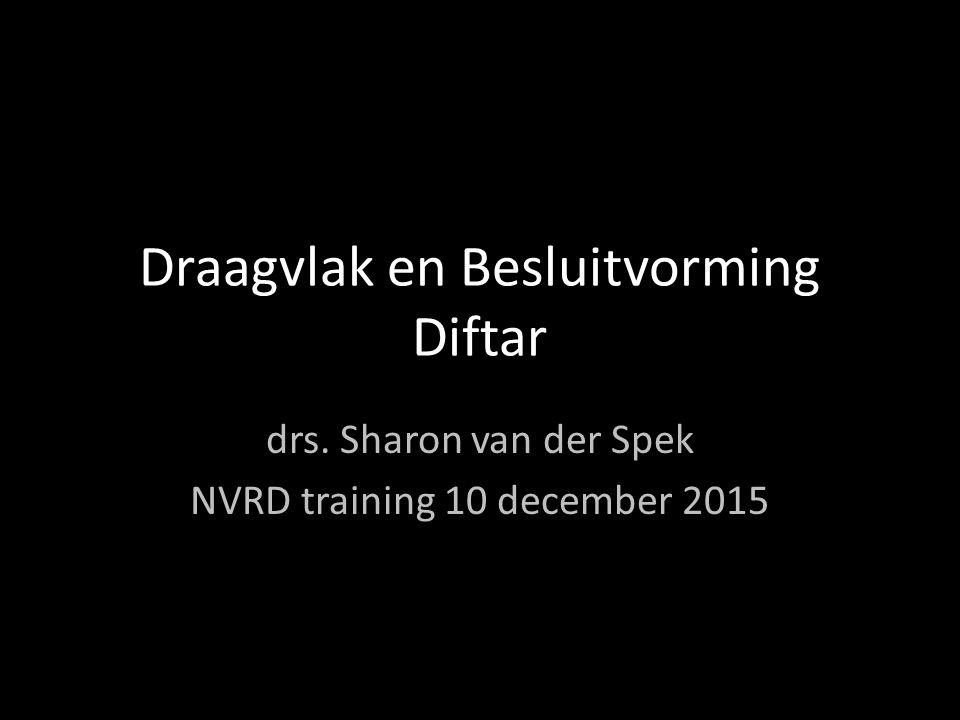 Draagvlak en Besluitvorming Diftar drs. Sharon van der Spek NVRD training 10 december 2015