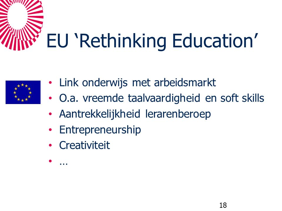 EU 'Rethinking Education' Link onderwijs met arbeidsmarkt O.a. vreemde taalvaardigheid en soft skills Aantrekkelijkheid lerarenberoep Entrepreneurship