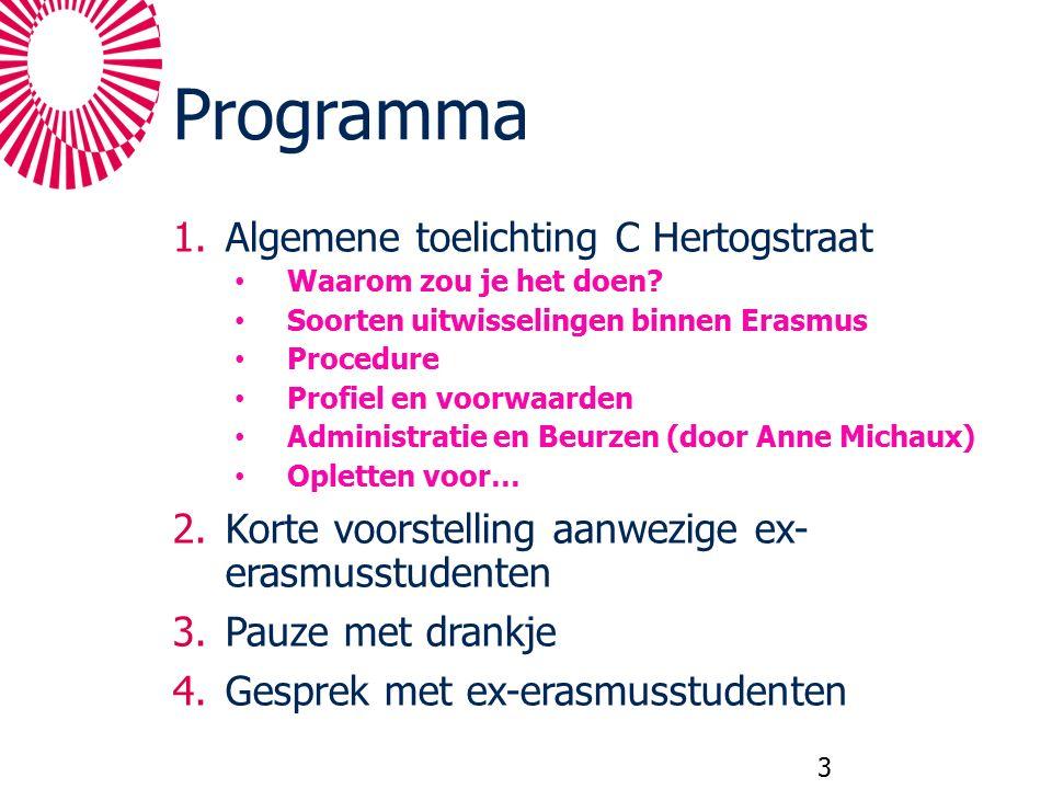 Programma 1.Algemene toelichting C Hertogstraat Waarom zou je het doen? Soorten uitwisselingen binnen Erasmus Procedure Profiel en voorwaarden Adminis