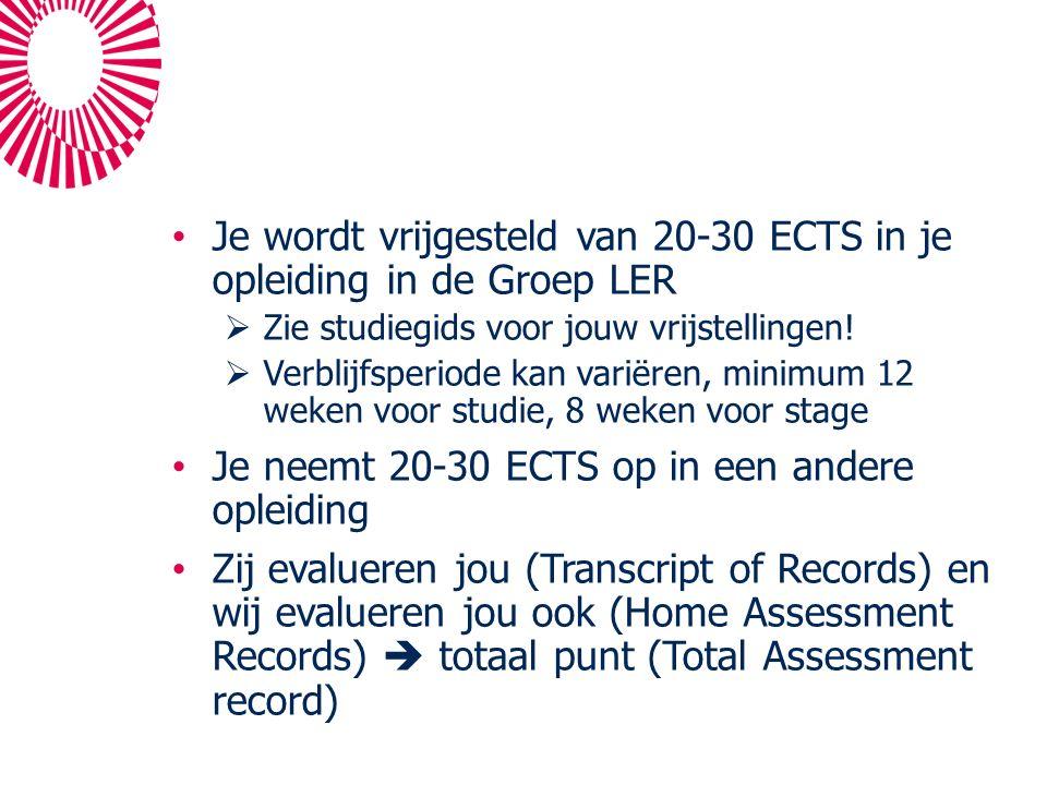 Je wordt vrijgesteld van 20-30 ECTS in je opleiding in de Groep LER  Zie studiegids voor jouw vrijstellingen.