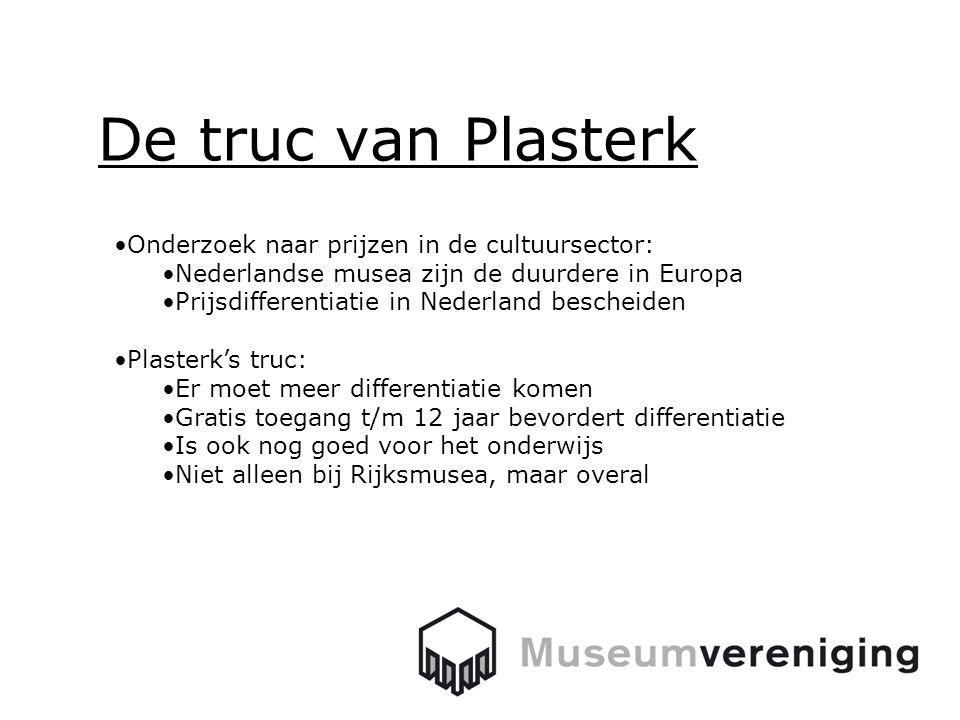 De truc van Plasterk Onderzoek naar prijzen in de cultuursector: Nederlandse musea zijn de duurdere in Europa Prijsdifferentiatie in Nederland bescheiden Plasterk's truc: Er moet meer differentiatie komen Gratis toegang t/m 12 jaar bevordert differentiatie Is ook nog goed voor het onderwijs Niet alleen bij Rijksmusea, maar overal