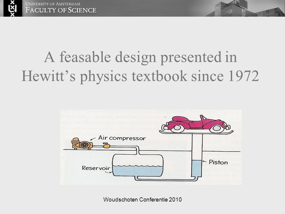 Woudschoten Conferentie 2010 A feasable design presented in Hewitt's physics textbook since 1972