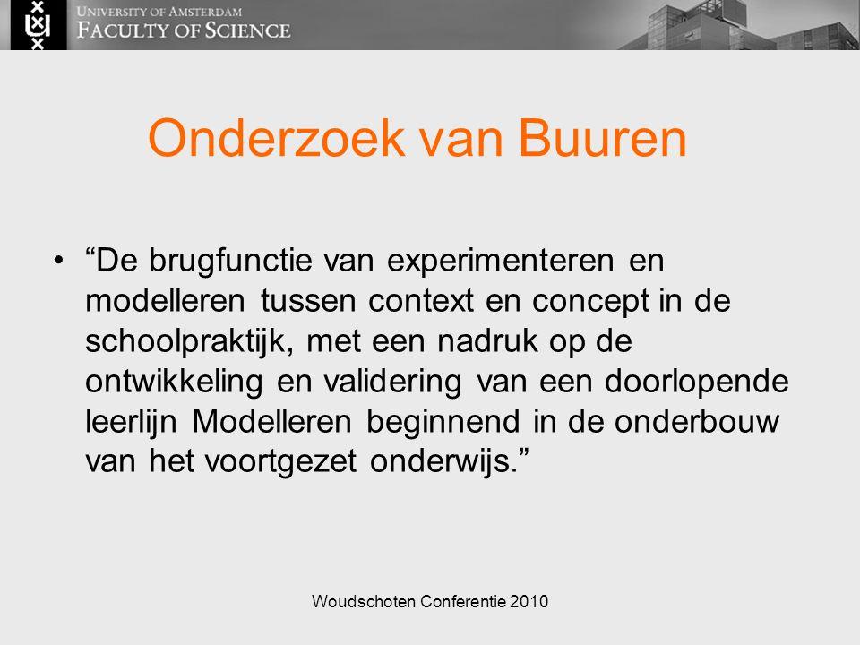 Woudschoten Conferentie 2010 Onderzoek van Buuren De brugfunctie van experimenteren en modelleren tussen context en concept in de schoolpraktijk, met een nadruk op de ontwikkeling en validering van een doorlopende leerlijn Modelleren beginnend in de onderbouw van het voortgezet onderwijs.
