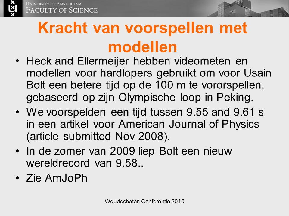 Woudschoten Conferentie 2010 Kracht van voorspellen met modellen Heck and Ellermeijer hebben videometen en modellen voor hardlopers gebruikt om voor Usain Bolt een betere tijd op de 100 m te vororspellen, gebaseerd op zijn Olympische loop in Peking.