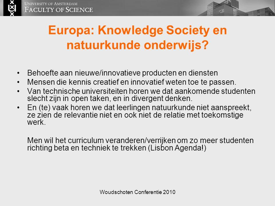 Woudschoten Conferentie 2010 Europa: Knowledge Society en natuurkunde onderwijs.