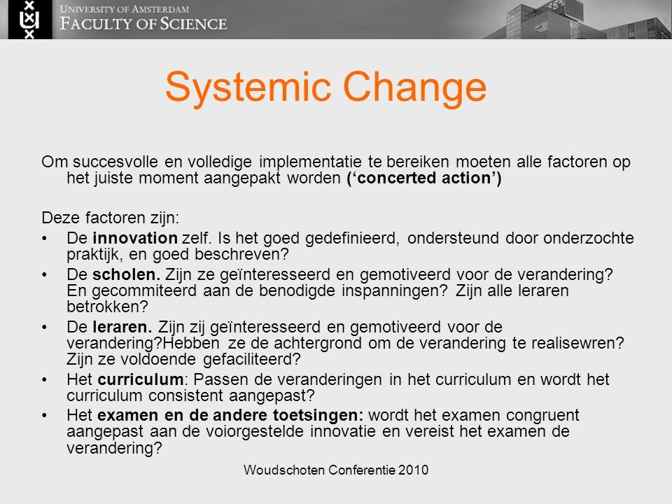 Woudschoten Conferentie 2010 Systemic Change Om succesvolle en volledige implementatie te bereiken moeten alle factoren op het juiste moment aangepakt worden ('concerted action') Deze factoren zijn: De innovation zelf.