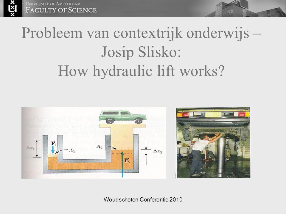 Woudschoten Conferentie 2010 Probleem van contextrijk onderwijs – Josip Slisko: How hydraulic lift works