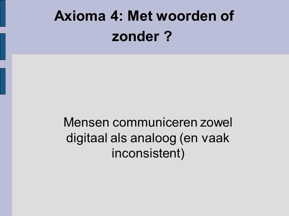 Axioma 4: Met woorden of zonder ? Mensen communiceren zowel digitaal als analoog (en vaak inconsistent)