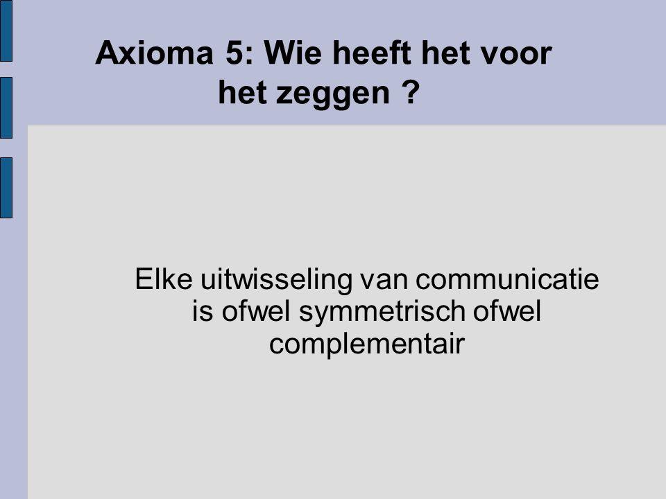 Axioma 5: Wie heeft het voor het zeggen ? Elke uitwisseling van communicatie is ofwel symmetrisch ofwel complementair