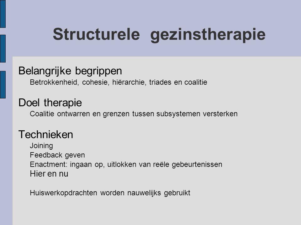 Structurele gezinstherapie Belangrijke begrippen Betrokkenheid, cohesie, hiërarchie, triades en coalitie Doel therapie Coalitie ontwarren en grenzen t