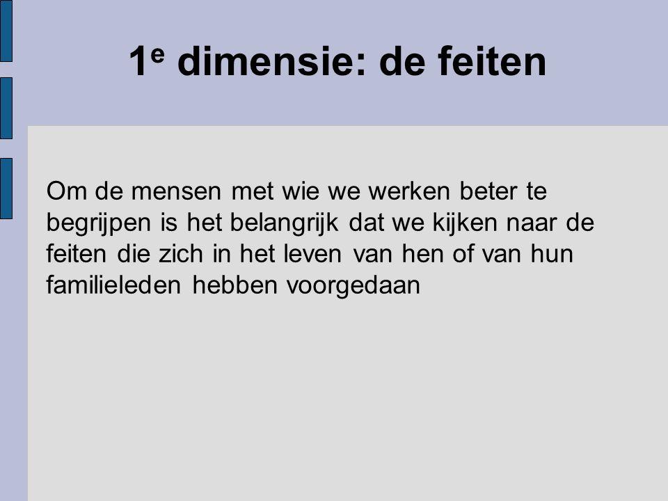 1 e dimensie: de feiten Om de mensen met wie we werken beter te begrijpen is het belangrijk dat we kijken naar de feiten die zich in het leven van hen