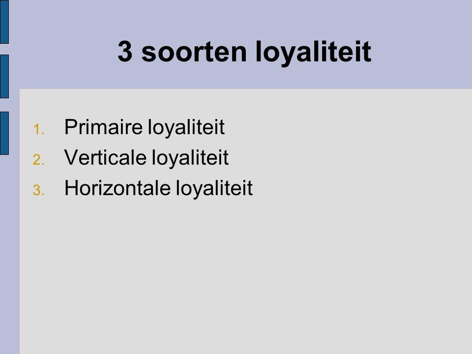 3 soorten loyaliteit 1. Primaire loyaliteit 2. Verticale loyaliteit 3. Horizontale loyaliteit