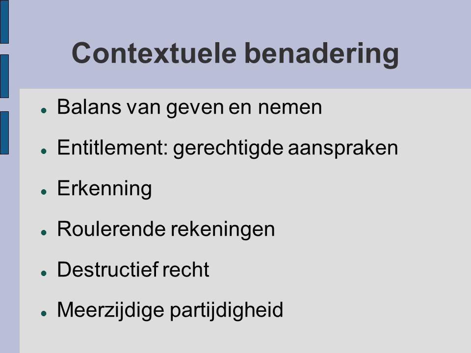 Contextuele benadering Balans van geven en nemen Entitlement: gerechtigde aanspraken Erkenning Roulerende rekeningen Destructief recht Meerzijdige par
