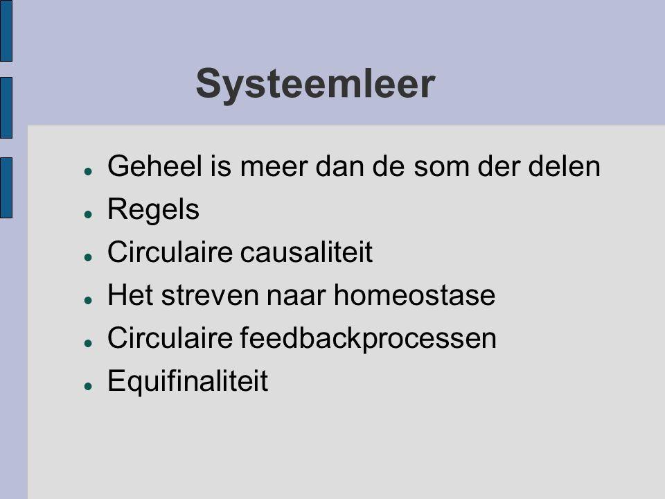 Systeemleer Geheel is meer dan de som der delen Regels Circulaire causaliteit Het streven naar homeostase Circulaire feedbackprocessen Equifinaliteit