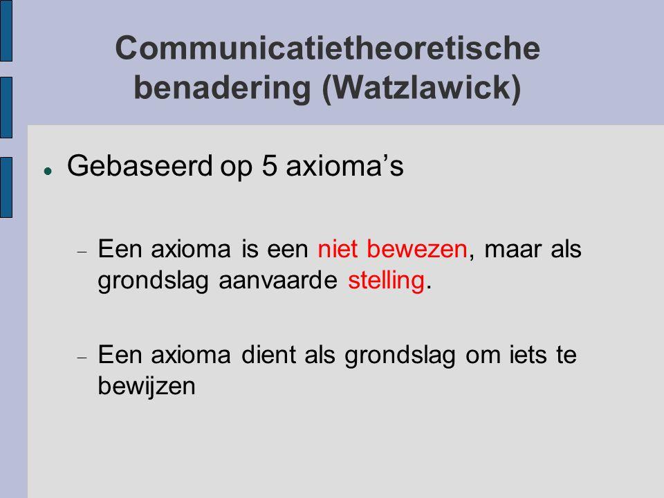Communicatietheoretische benadering (Watzlawick) Gebaseerd op 5 axioma's  Een axioma is een niet bewezen, maar als grondslag aanvaarde stelling.  E