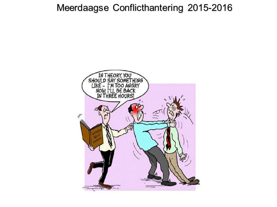 Programma conflicthantering Opzet van de training, werkafspraken Dag 1: Kennismaking (huiswerk 1) / eigen conflict, soorten conflict en conflicthantering.