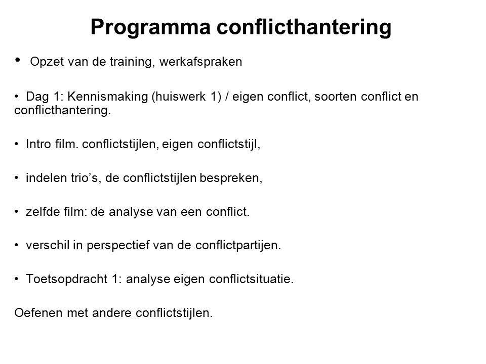 Programma conflicthantering Opzet van de training, werkafspraken Dag 1: Kennismaking (huiswerk 1) / eigen conflict, soorten conflict en conflicthanter