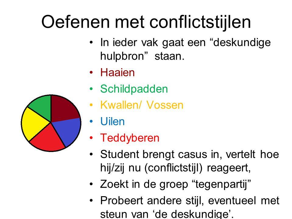 """Oefenen met conflictstijlen In ieder vak gaat een """"deskundige hulpbron"""" staan. Haaien Schildpadden Kwallen/ Vossen Uilen Teddyberen Student brengt cas"""