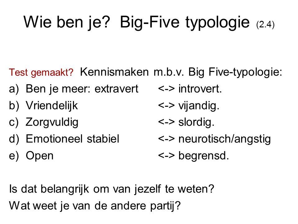 Wie ben je? Big-Five typologie (2.4) Test gemaakt? Kennismaken m.b.v. Big Five-typologie: a)Ben je meer: extravert introvert. b)Vriendelijk vijandig.