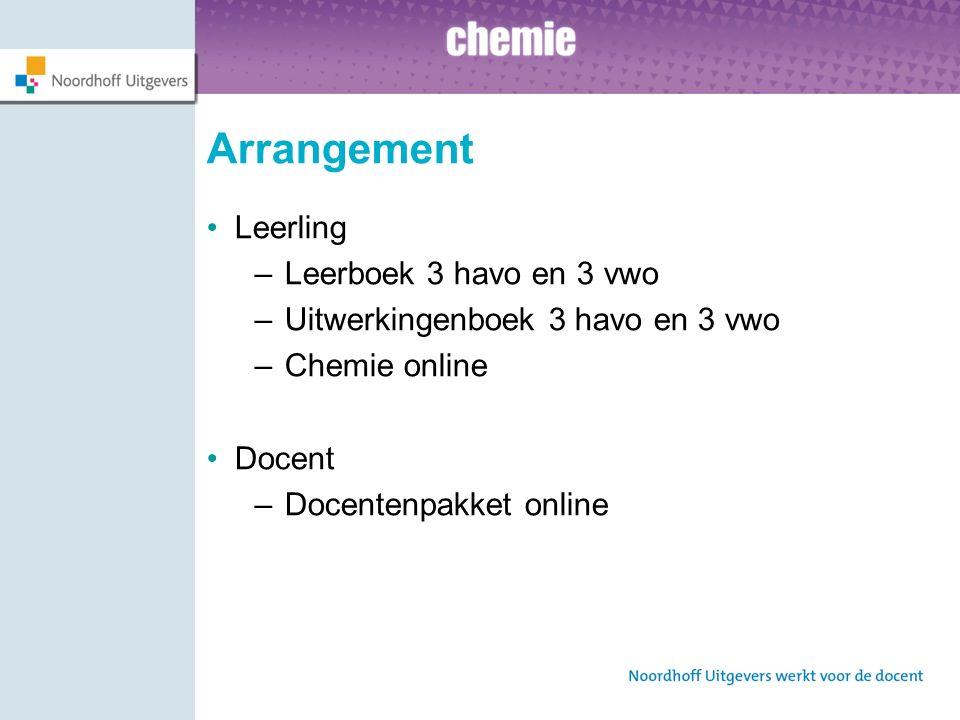 Arrangement Leerling –Leerboek 3 havo en 3 vwo –Uitwerkingenboek 3 havo en 3 vwo –Chemie online Docent –Docentenpakket online