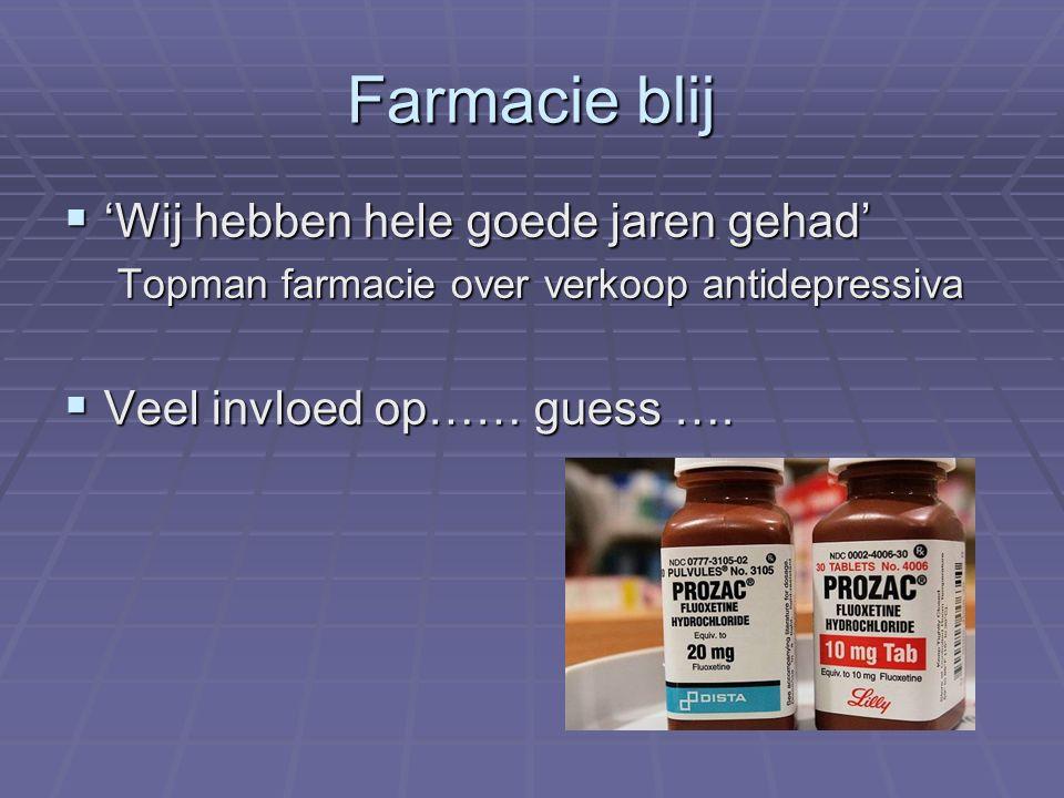 Farmacie blij  'Wij hebben hele goede jaren gehad' Topman farmacie over verkoop antidepressiva  Veel invloed op…… guess ….