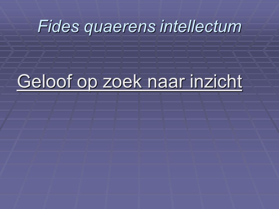 Fides quaerens intellectum Geloof op zoek naar inzicht