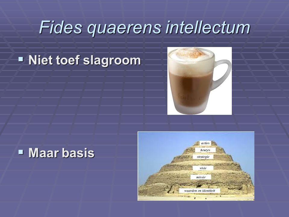 Fides quaerens intellectum  Niet toef slagroom  Maar basis