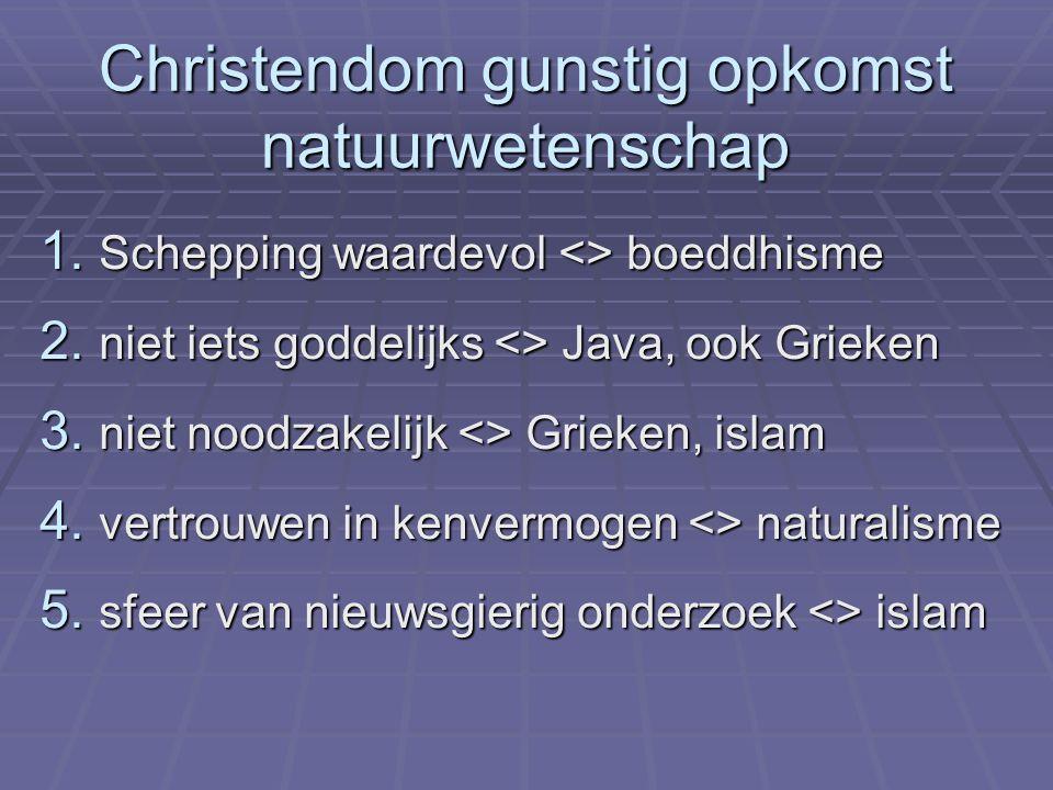Christendom gunstig opkomst natuurwetenschap 1. Schepping waardevol <> boeddhisme 2. niet iets goddelijks <> Java, ook Grieken 3. niet noodzakelijk <>