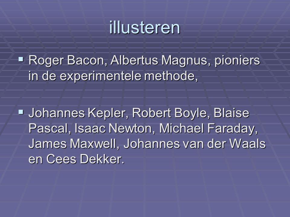illusteren  Roger Bacon, Albertus Magnus, pioniers in de experimentele methode,  Johannes Kepler, Robert Boyle, Blaise Pascal, Isaac Newton, Michael Faraday, James Maxwell, Johannes van der Waals en Cees Dekker.