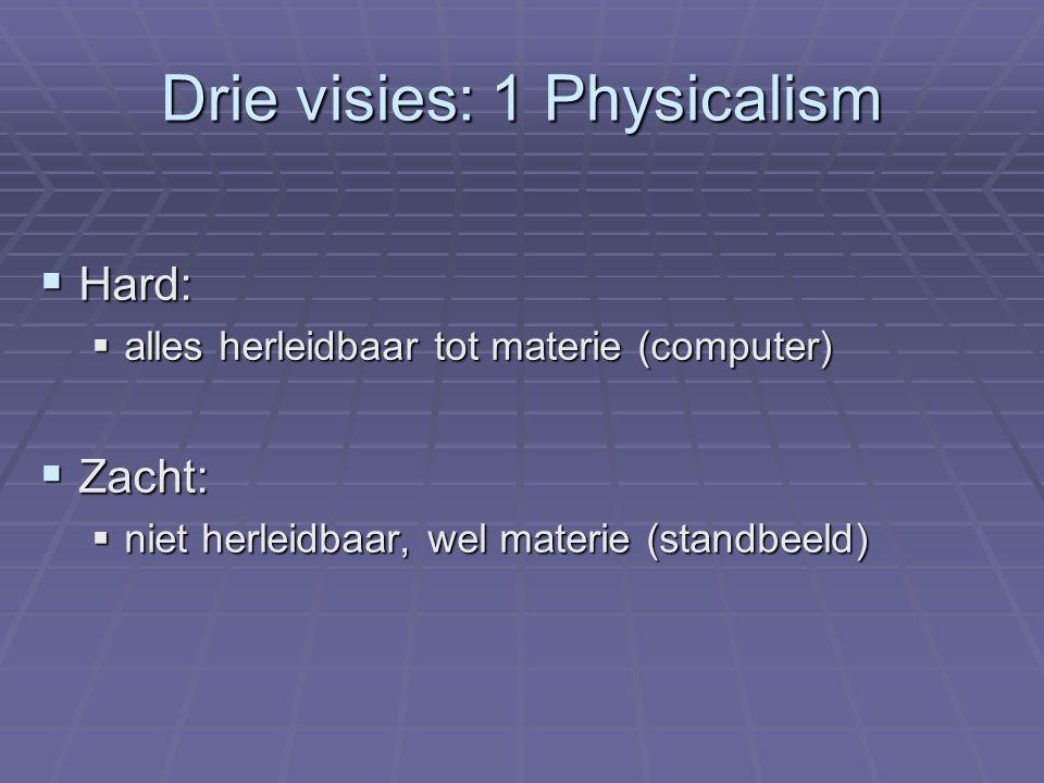 Drie visies: 1 Physicalism  Hard:  alles herleidbaar tot materie (computer)  Zacht:  niet herleidbaar, wel materie (standbeeld)