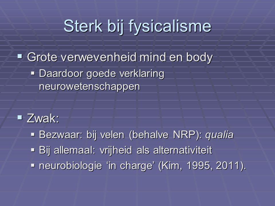 Sterk bij fysicalisme  Grote verwevenheid mind en body  Daardoor goede verklaring neurowetenschappen  Zwak:  Bezwaar: bij velen (behalve NRP): qua