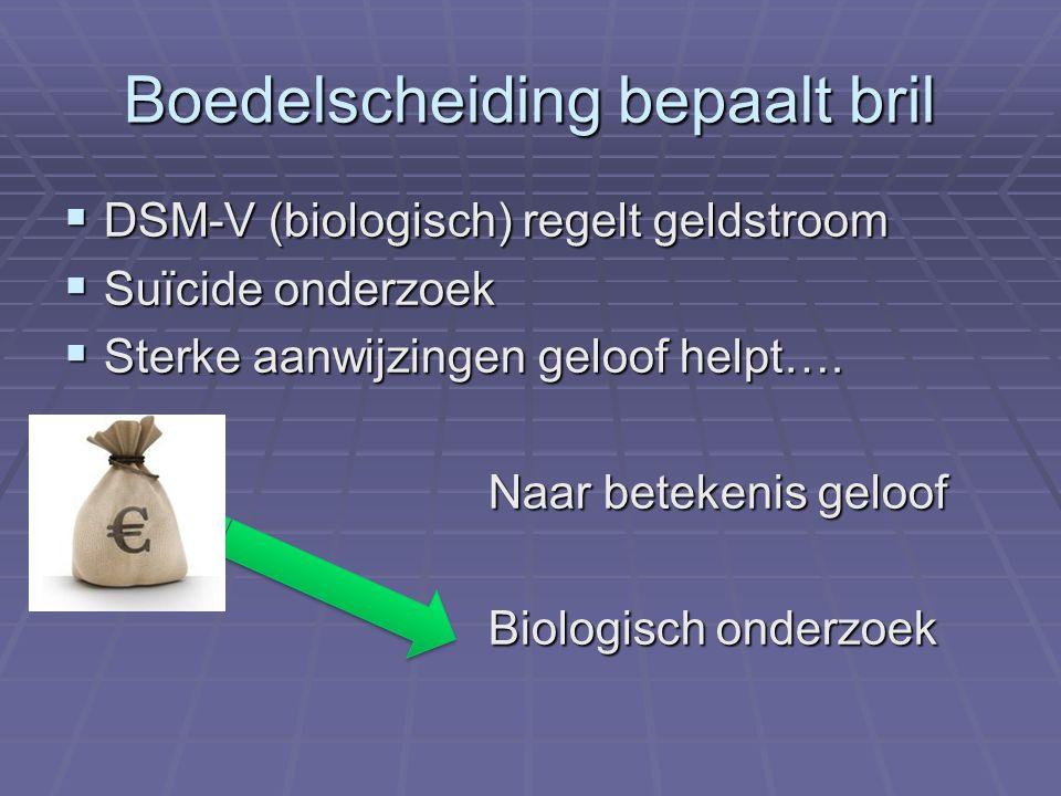 Boedelscheiding bepaalt bril  DSM-V (biologisch) regelt geldstroom  Suïcide onderzoek  Sterke aanwijzingen geloof helpt….