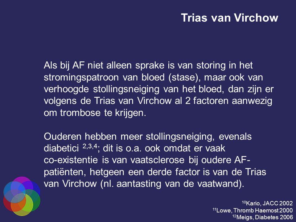 Trias van Virchow Als bij AF niet alleen sprake is van storing in het stromingspatroon van bloed (stase), maar ook van verhoogde stollingsneiging van