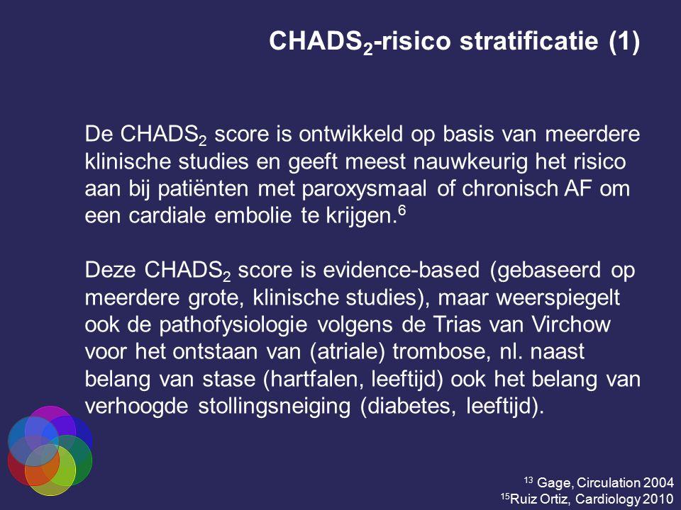 CHADS 2 -risico stratificatie (1) De CHADS 2 score is ontwikkeld op basis van meerdere klinische studies en geeft meest nauwkeurig het risico aan bij