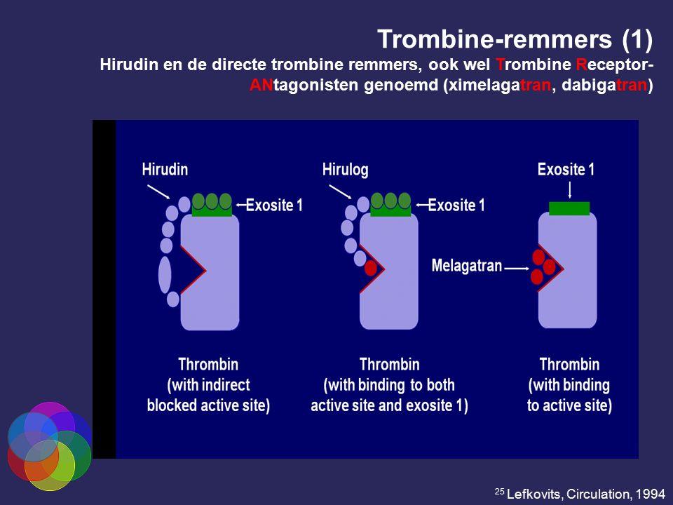 Trombine-remmers (1) Hirudin en de directe trombine remmers, ook wel Trombine Receptor- ANtagonisten genoemd (ximelagatran, dabigatran) 25 Lefkovits,