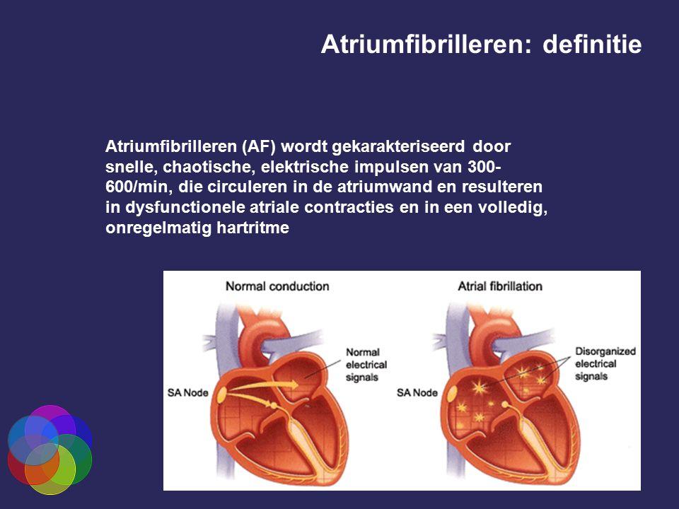 Atriumfibrilleren (AF) wordt gekarakteriseerd door snelle, chaotische, elektrische impulsen van 300- 600/min, die circuleren in de atriumwand en resul