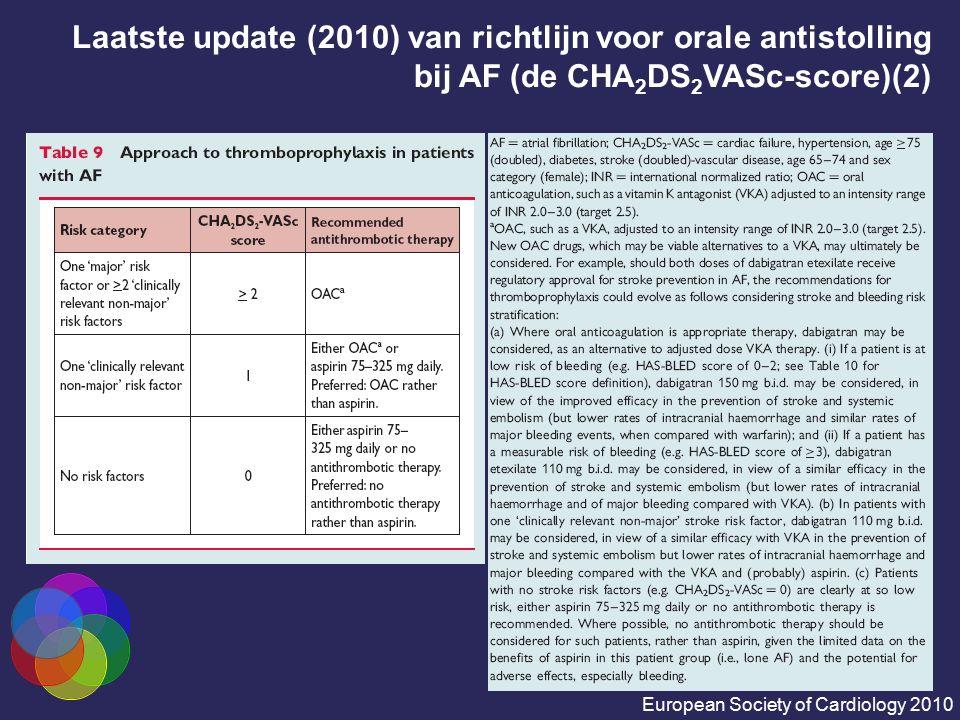 Laatste update (2010) van richtlijn voor orale antistolling bij AF (de CHA 2 DS 2 VASc-score)(2) European Society of Cardiology 2010