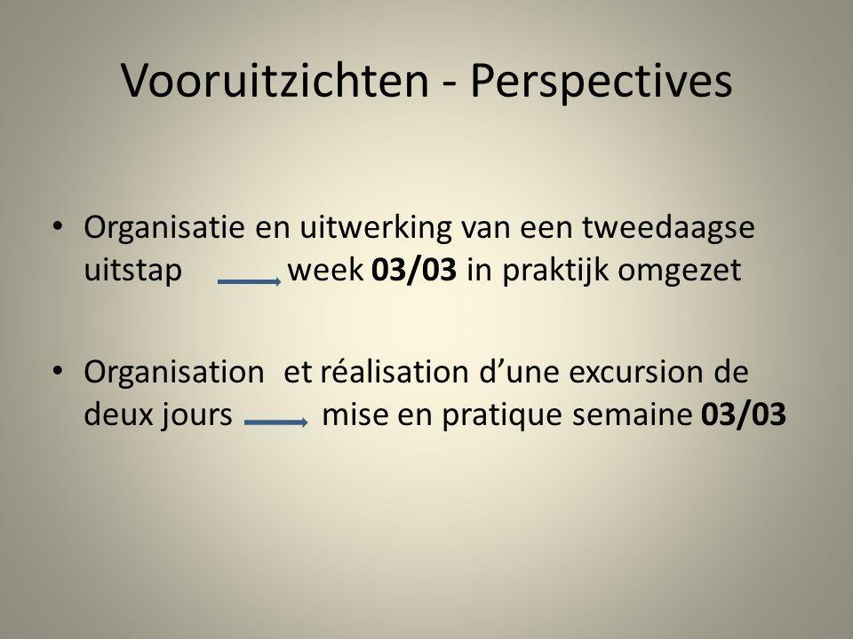 Vooruitzichten - Perspectives Organisatie en uitwerking van een tweedaagse uitstap week 03/03 in praktijk omgezet Organisation et réalisation d'une ex