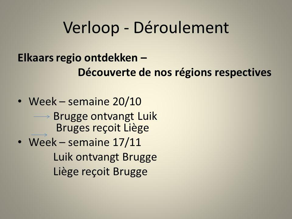 Verloop - Déroulement Elkaars regio ontdekken – Découverte de nos régions respectives Week – semaine 20/10 Brugge ontvangt Luik Bruges reçoit Liège Week – semaine 17/11 Luik ontvangt Brugge Liège reçoit Brugge