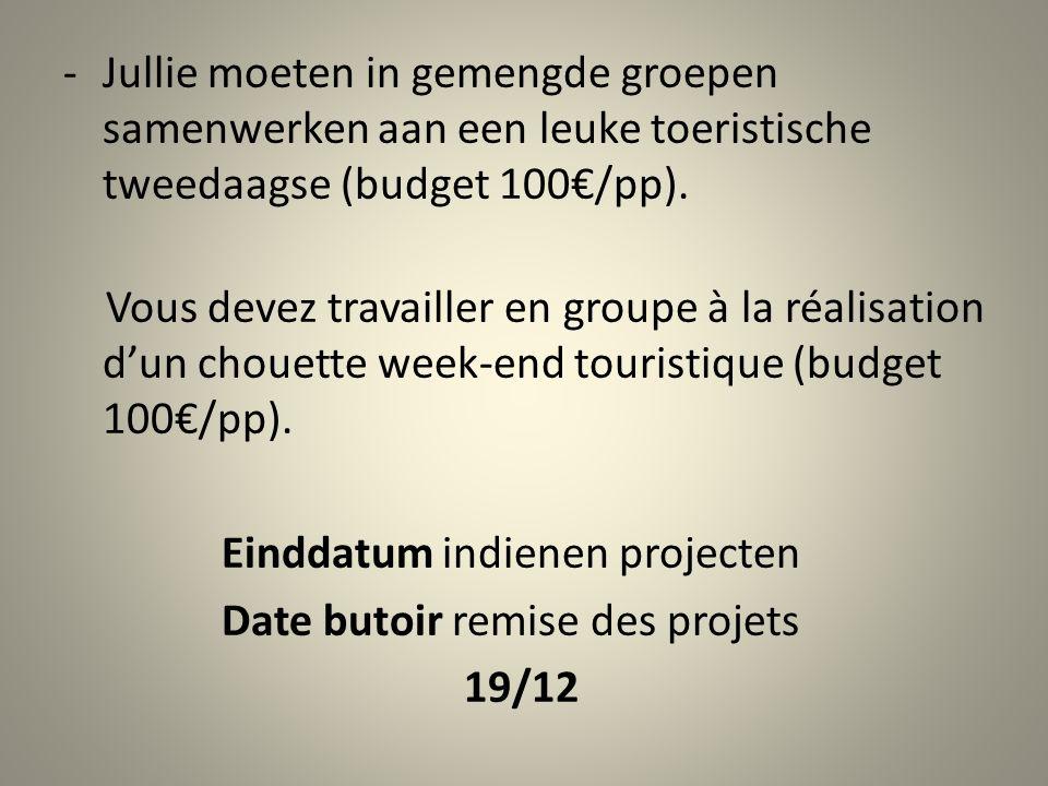 -Jullie moeten in gemengde groepen samenwerken aan een leuke toeristische tweedaagse (budget 100€/pp).