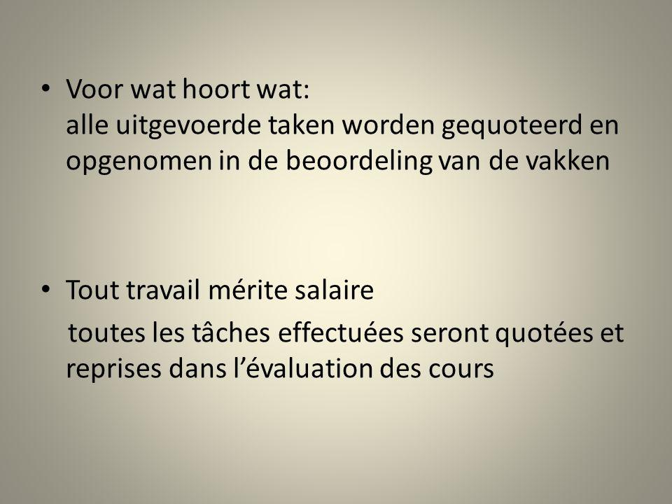 Voor wat hoort wat: alle uitgevoerde taken worden gequoteerd en opgenomen in de beoordeling van de vakken Tout travail mérite salaire toutes les tâche