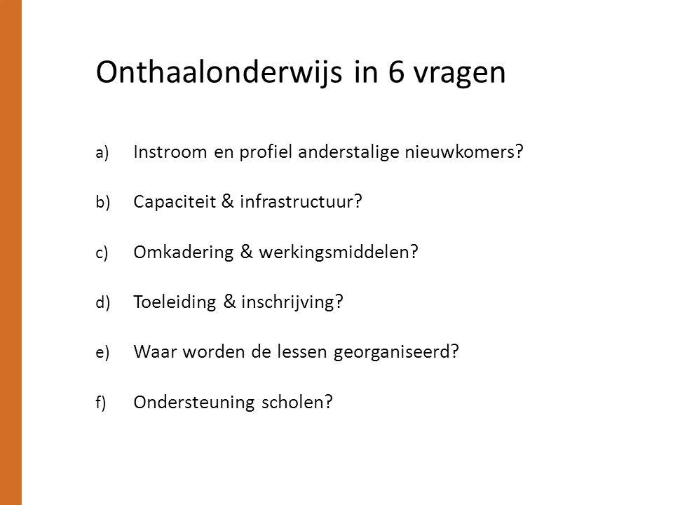 Onthaalonderwijs in 6 vragen a) Instroom en profiel anderstalige nieuwkomers.
