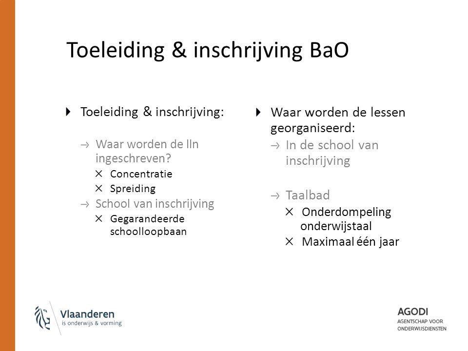 Toeleiding & inschrijving BaO Toeleiding & inschrijving: Waar worden de lln ingeschreven.