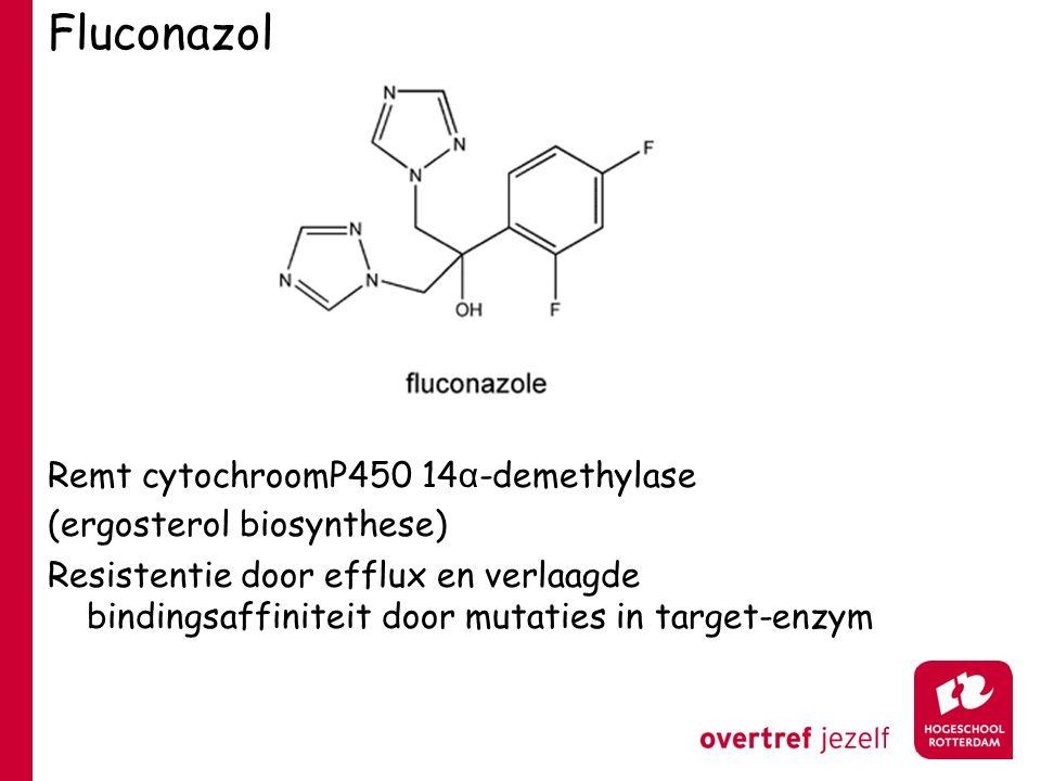 Fluconazol Remt cytochroomP450 14 α -demethylase (ergosterol biosynthese) Resistentie door efflux en verlaagde bindingsaffiniteit door mutaties in tar