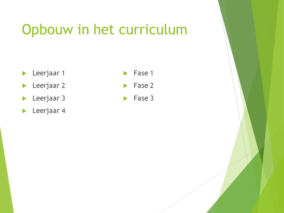 Opbouw in het curriculum  Leerjaar 1  Leerjaar 2  Leerjaar 3  Leerjaar 4  Fase 1  Fase 2  Fase 3