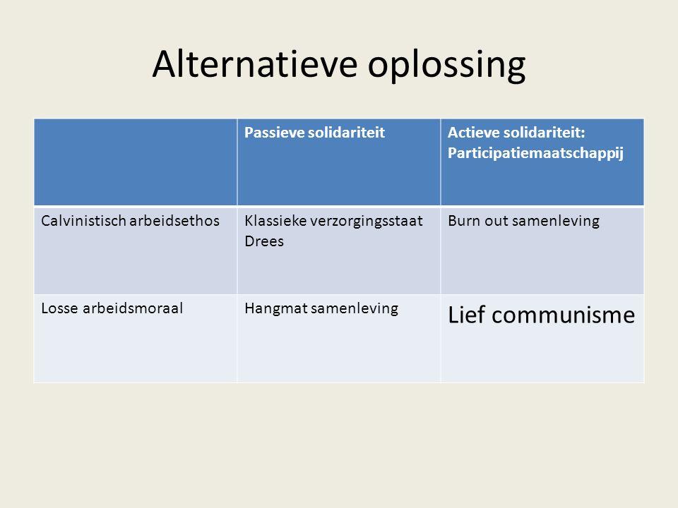 Alternatieve oplossing Passieve solidariteitActieve solidariteit: Participatiemaatschappij Calvinistisch arbeidsethosKlassieke verzorgingsstaat Drees