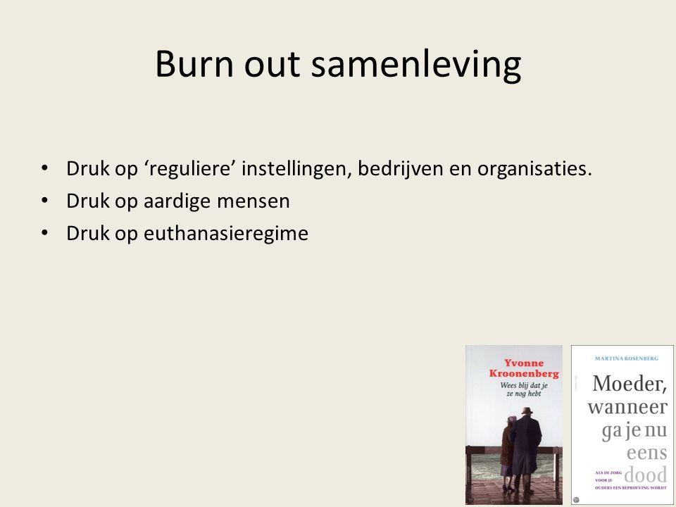 Burn out samenleving Druk op 'reguliere' instellingen, bedrijven en organisaties. Druk op aardige mensen Druk op euthanasieregime
