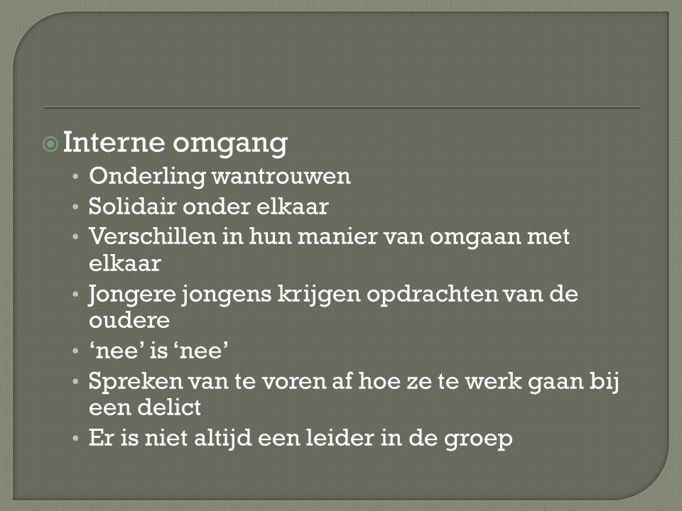  Interne omgang Onderling wantrouwen Solidair onder elkaar Verschillen in hun manier van omgaan met elkaar Jongere jongens krijgen opdrachten van de